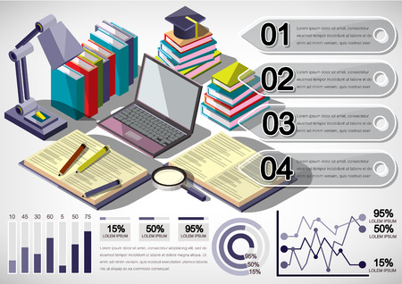 background information: illustration of infographic education concept in isometric graphic