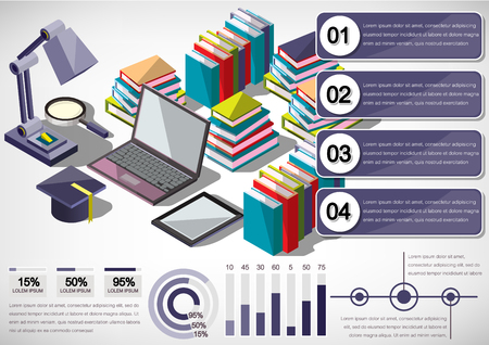 contemporary background: illustration of infographic education concept in isometric graphic