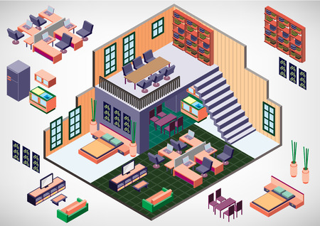 inside house: illustration of info graphic interior room concept in isometric graphic