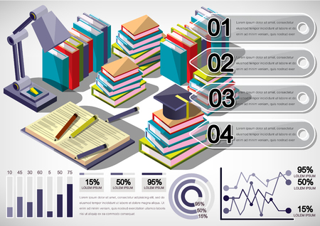 science background: illustration of infographic education concept in isometric graphic