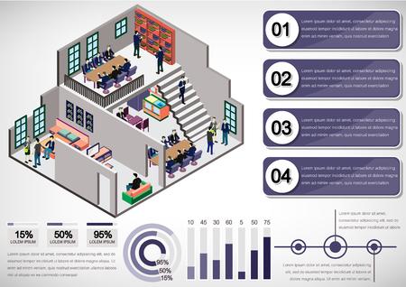 illustration of info graphic interior room concept in isometric graphic Ilustração Vetorial