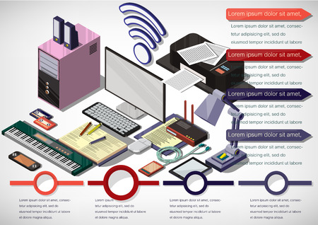 learning icon: illustration of info graphic education online concept in isometric graphic Illustration