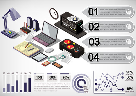 computer work: illustration of info graphic interior office concept in isometric graphic Illustration
