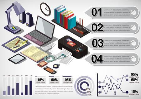 Darstellung der Infografik inter Bürokonzept in isometrischer Grafik Illustration