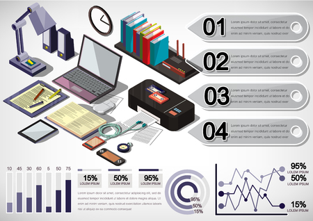 illustration of info graphic interior office concept in isometric graphic Vettoriali