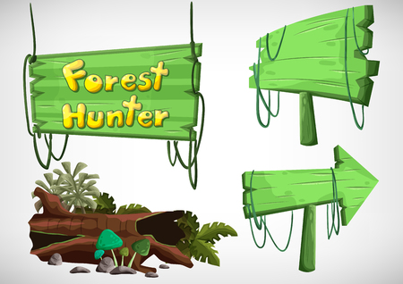 cartoon spring: Set of cartoon colored wood label for use in the game and animation, game design asset Illustration