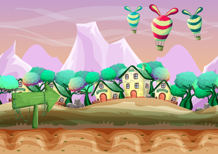 scroller: Seamless cartoon vector landscape with separated layers for game and animation, game design asset