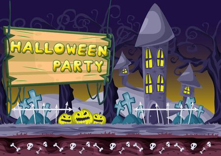 Seamless cartoon vector halloween background with separated layers for game and animation, game design asset