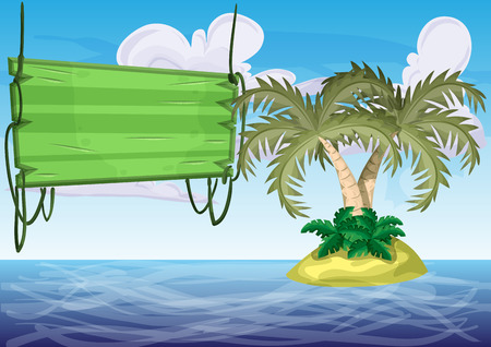 under water grass: Seamless cartoon vector island with separated layers for game and animation, game design asset