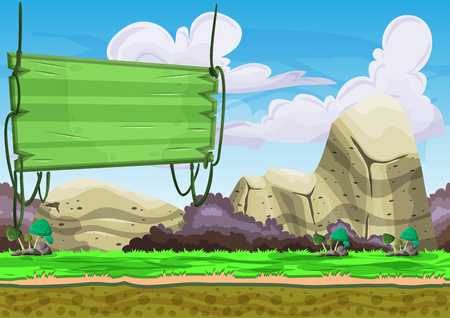 Seamless cartoon vector landscape with separated layers for game and animation, game design asset