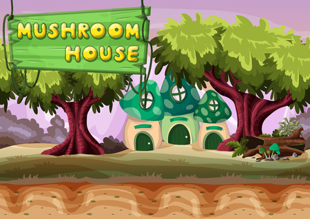 dream land: Seamless cartoon vector mushroom house with separated layers for game and animation, game design asset