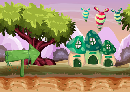 wooden door: Seamless cartoon vector mushroom house with separated layers for game and animation, game design asset