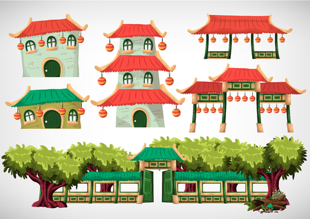 traditional house: China house objects for the game and animation, game design asset. Vector flat illustrations.