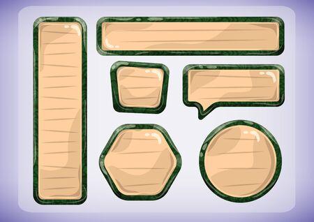 Etiquetas de vector de dibujos animados de madera para el juego y la animación, diseño de juegos activos Foto de archivo - 58933428