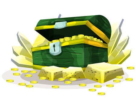 old padlock: Cartoon vector treasure object for game and animation, game design asset