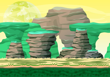 rock layer: Seamless cartoon vector desert background with separated layers for game and animation, game design asset