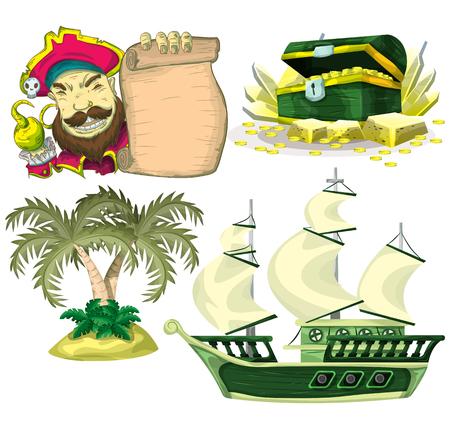 ゲームやアニメーション、ゲーム デザイン資産の漫画ベクトル海賊オブジェクト