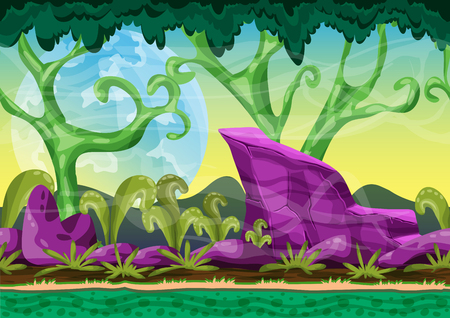 Cartoon vector landscape with separated layers for game and animation, game design asset Ilustração