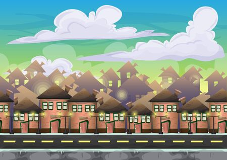 2d wallpaper: Cartoon vector city sky with separated layers for game and animation, game design asset