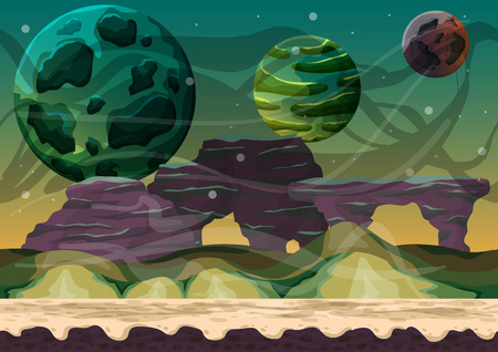 rock layer: Cartoon vector space landscape with separated layers for game and animation, game design asset