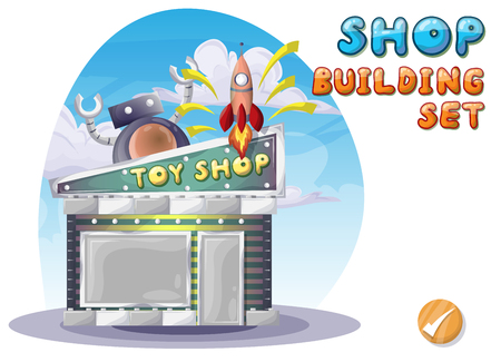 toy shop: Cartoon vector toy shop for game and animation, game design asset