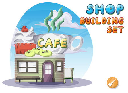 Cartoon vector cafe for game and animation, game design asset