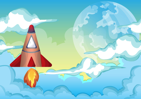 layers levels: Cartoon vector space sky with separated layers for game and animation, game design asset