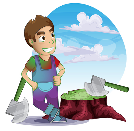 handy man: carpenter man with separated layers for game and animation, game design asset Illustration