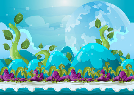 dreamland: Cartoon vector heaven landscape with separated layers for game and animation, game design asset Illustration