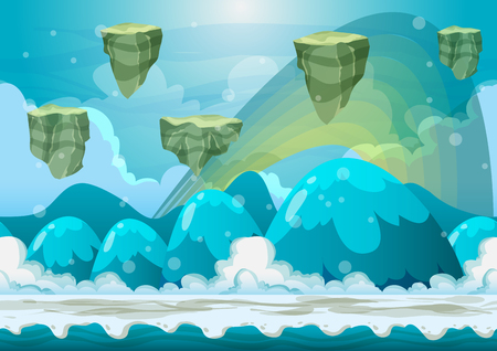 Cartoon vector heaven landscape with separated layers for game and animation, game design asset  イラスト・ベクター素材