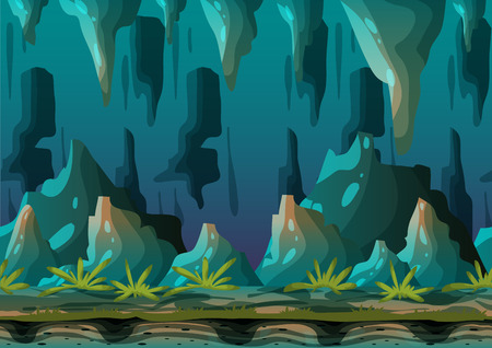Cartoon vector cave landscape with separated layers for game and animation, game design asset Vettoriali