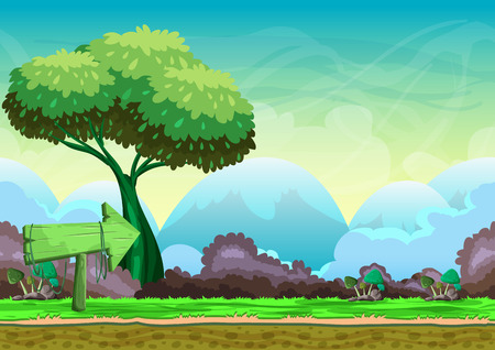2d wallpaper: Seamless cartoon vector landscape with separated layers for game and animation, game design asset