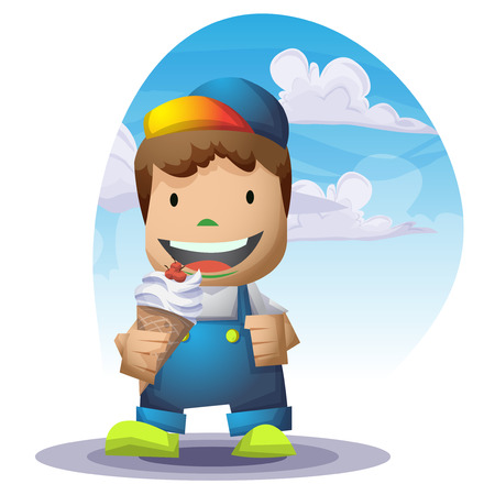 funny boy: Kid cartoon with separated layers for game and animation, game design asset Illustration