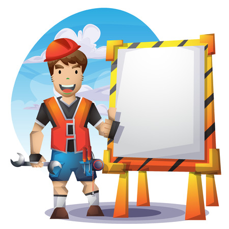 technician: technician vector cartoon with separated layers for game and animation, game design asset Illustration