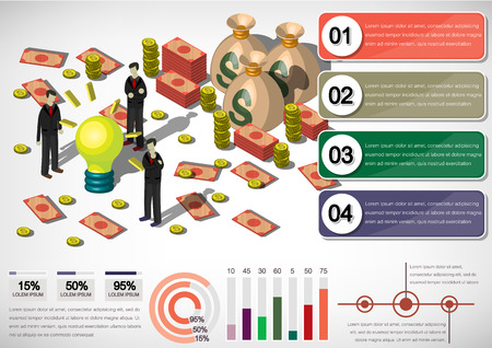 Bag of gold coins: illustration of info graphic money equipment concept in isometric 3D graphic