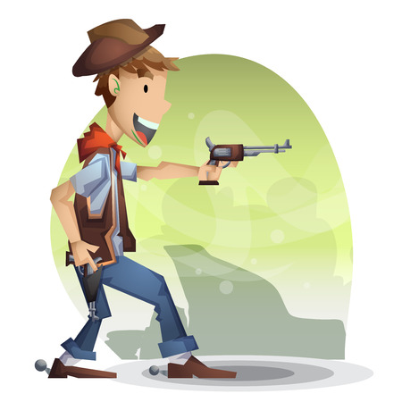 cowboy vector cartoon with separated layers for game and animation, game design asset