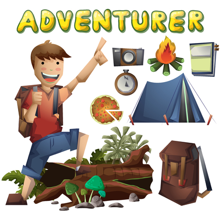 couple hiking: Cartoon vector landscape on the theme of adventures and outdoor recreation with separated layers Illustration