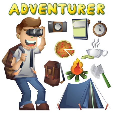 Cartoon vector landscape on the theme of adventures and outdoor recreation with separated layers Illustration