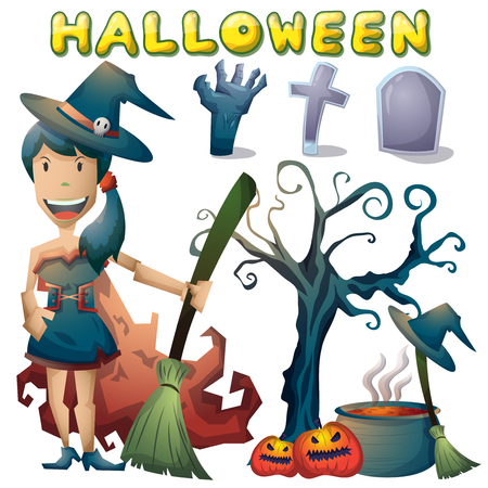 halloween object vector cartoon with separated layers for game and animation, game design asset Illustration