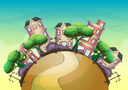 Cartoon vector urban landscape with separated layers for game and animation, game design asset