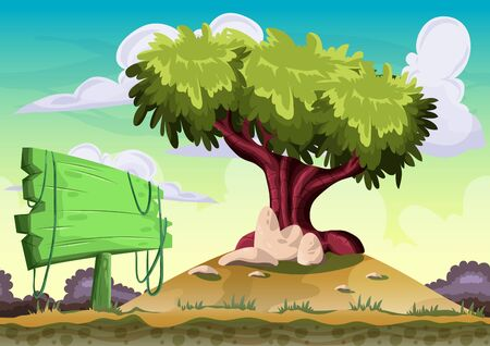 Cartoon vector landscape with separated layers for game and animation, game design asset Illustration