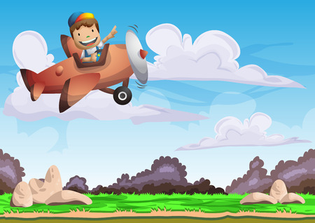 Cartoon vector kid on a plane background with separated layers for game and animation, game design asset