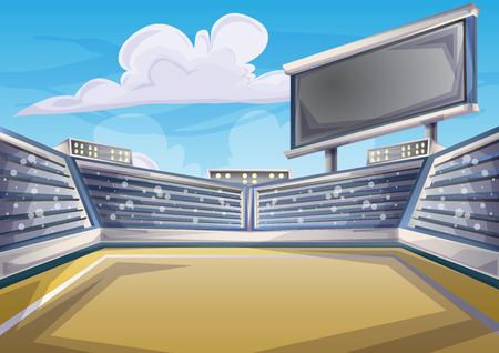 overture: Cartoon vector Stadium Background Score Board Empty Field with separated layers