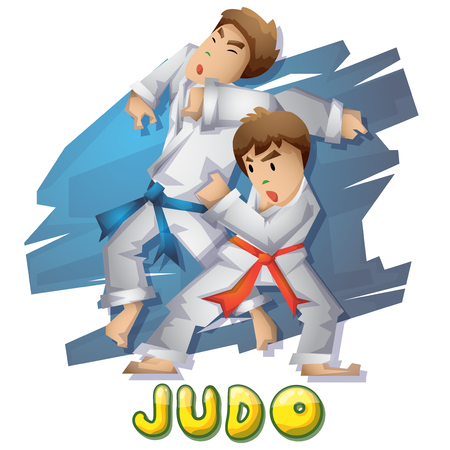 Cartoon vector judo  sport with separated layers for game and animation, game design asset Illustration