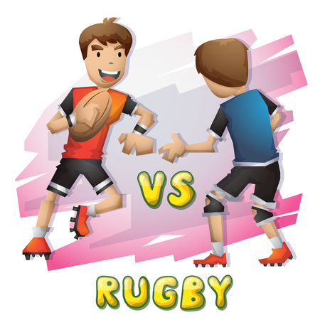 sport man: Cartoon vector rugby  sport with separated layers for game and animation, game design asset