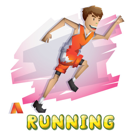 Cartoon vector running   sport with separated layers for game and animation, game design asset  イラスト・ベクター素材