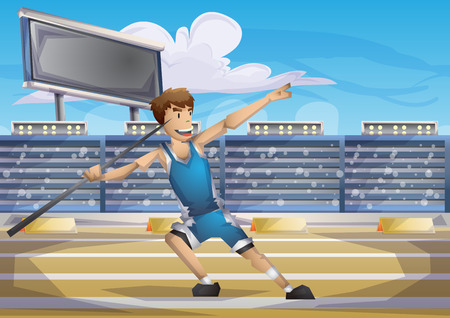 Cartoon vector javelin  sport with separated layers for game and animation, game design asset Illustration