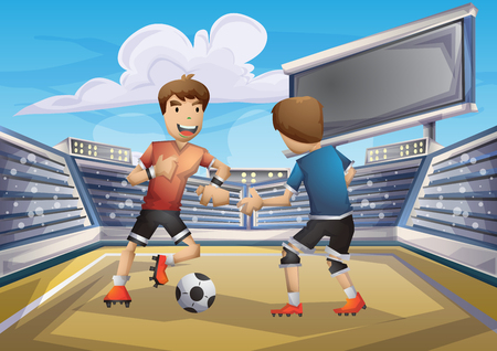 Cartoon vector soccer  sport with separated layers for game and animation, game design asset