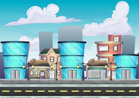city scene: Cartoon vector urban landscape with separated layers for game and animation, game design asset