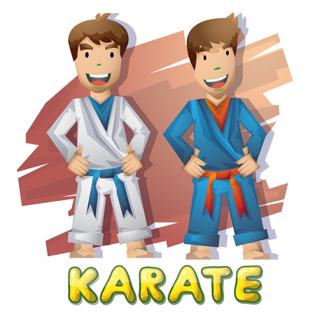 bjj: Cartoon vector judo  sport with separated layers for game and animation, game design asset Illustration